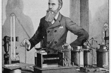 Wilhelm Conrad Rontgen German physicist, discovered X-rays, 1895, Nobel prizewinner, 1901, in his laboratory.      Date: 1845 - 1923